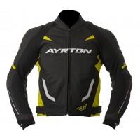 Kožená moto bunda AYRTON Evoline (černá-žlutá fluo)