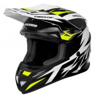 Motokrosová helma CASSIDA Cross Cup Two (bílá-žlutá fluo-černá-šedá)