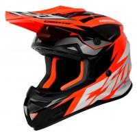 Motokrosová helma CASSIDA Cross Cup Two (oranžová fluo-bílá-černá-šedá)