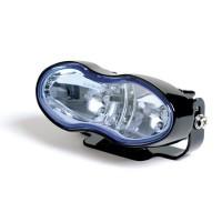Přední světlo Fern černé 2xH3 55W modré sklo