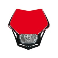 Přední enduro maska se světlem RTECH V-Face červená-černá