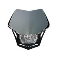 Přední enduro maska se světlem RTECH V-Face stříbrná-černá