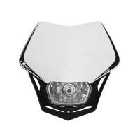 Přední enduro maska se světlem RTECH V-Face bílá-černá