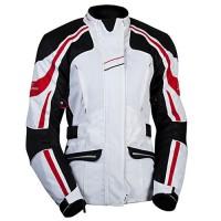 MBW NIKITA RED - dámská textilní moto bunda červená-bílá
