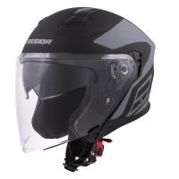 Otevřená helma CASSIDA Jet Tech Corso (černá matná-šedá)