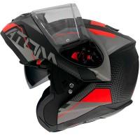 Výklopná helma MT Atom SV Quark A4 mat (černá/ šedá/ červená)