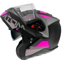Výklopná helma MT Atom SV Quark A8 mat (černá/ šedá/ růžová)