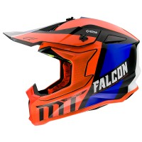 Motokrosová helma MT Falcon Warrior C4 (oranžová/modrá/černá/bílá)
