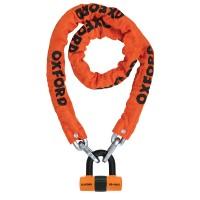 Řetězový zámek na moto OXFORD Heavy Duty (oranžový, délka 1,5m)